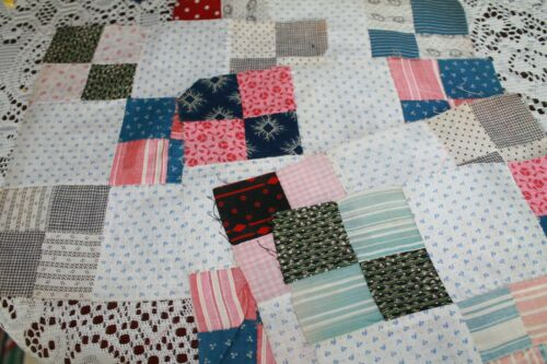 ANTIQUE QUILT BLOCKS DOUBLE NINE PATCH PATTERN 1800