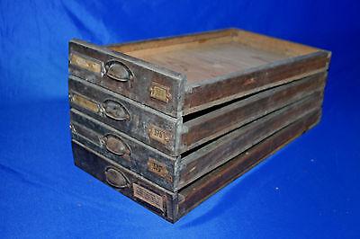 4x VINTAGE Holz Schublade Schubkasten Druckerei Schrank 49x26,5x4cm um 1930