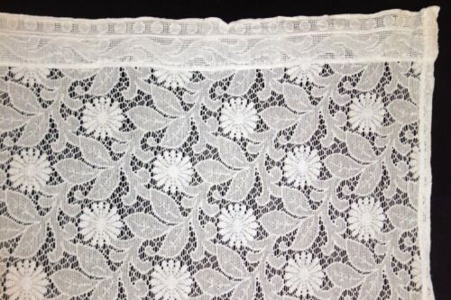 2 Pairs of Antique Lace Curtains, Floral Pattern, Scalloped Edge, White & Ivory