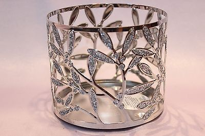 BATH & BODY WORKS GLITTER LEAVES METAL LARGE 3 WICK 14.5 OZ CANDLE HOLDER NEW