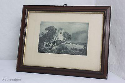 Carl Friedrich Lessing Photogravure Bruckmann Landschaften mit einer Kriegsszene