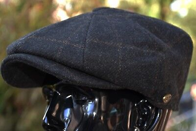 Men's Wool Newsboy Cap, Driving Cabbie Applejack Plaid Tweed Golf Hat Ns2316Blk