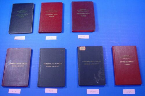Standard Field Tables (Redbook) Set of 7 from 1913 - 1956 Govt. Printing Office