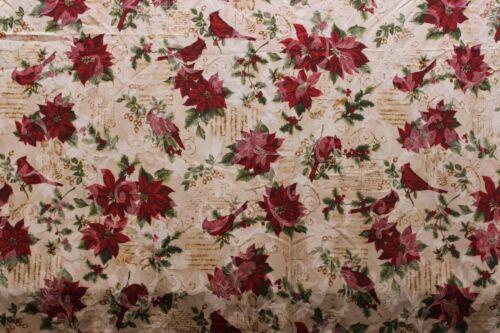 Christmas Tablecloth Botanical Poinsettia Cardinal Print 60 x 104 Rectangle