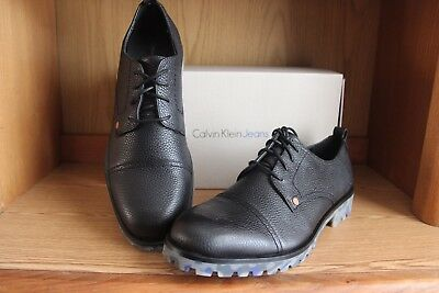 Leather Oxford Jeans - Calvin Klein Jeans Nox Thicker Leather Oxford Shoe Black Size 13 34SO343