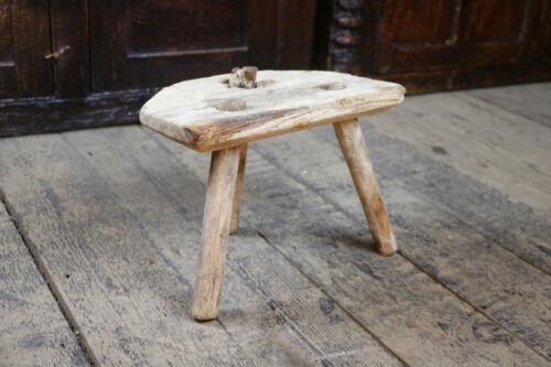 Welsh 19th Century Bleached Pine Milking Stool Primitve Antique Folk Art
