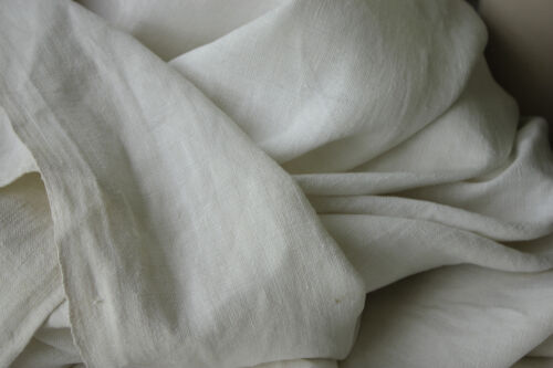 Vintage French sheet white linen 85 X 89 inches cutting fabric projects 1800