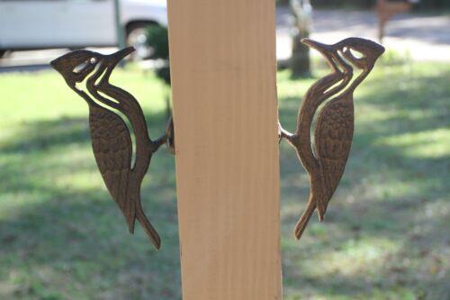 (2) Cast Iron Woodpecker Tree Art, H-17b