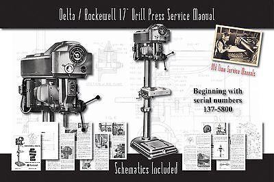 Deltarockwell 17 Drill Press Owners Service Manual Parts Lists Schematics Etc.