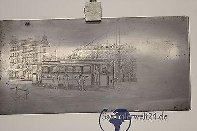 Druckstock Druckplatte München Electrische Trambahn 90 Ostbahnhof um 1900