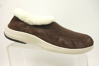 Propet Brown Knit Faux Fur Rim Casual Comfort Loafers Shoes Women's 9.5 EE