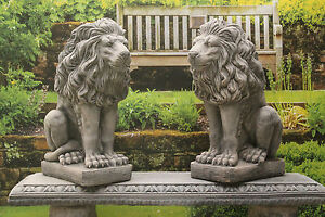 TWO STONE LION GARDEN ORNAMENT STATUES
