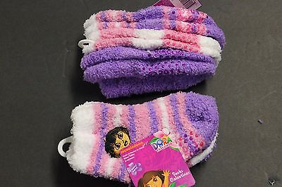 3 Pairs Dora The EXPLORER Fuzzy ANKLE SOCKS tollder 6-12 month Girl's NON SKIDS