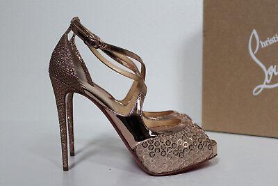 sz 6.5 / 37 Christian Louboutin Rose Gold Glitter Mira Bella Sandal Pump Shoes