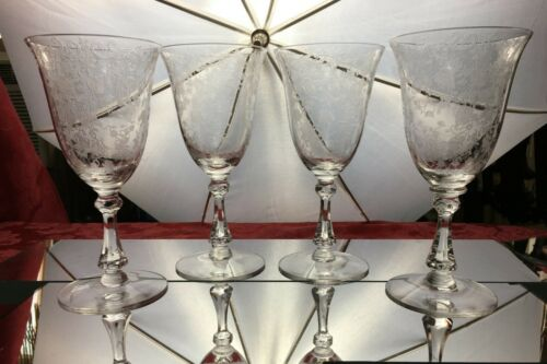 4 Elegant Etched Crystal Cambridge Chantilly Goblet 3775 Depression Glass Lot 1