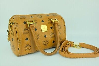 100% Authentic MCM Cognac Visetos Small Hand and Crossbody Bag With Dust Bag