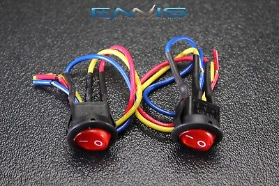 2 Pcs Rocker Switch On Off Red Toggle Led 12v 16 Amp 3 Pin Is-ec-ir1216red