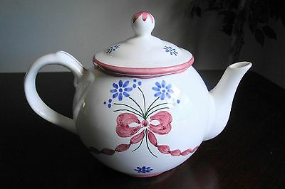 Vintage Portugal Neuwirth Porcelain Teapot Hand Painted Pink Blue Artist Signed