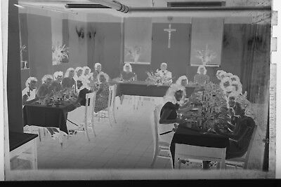 (4) B&W Press Photo Negative Women Banquet Table Formal Dinner Religious T2341