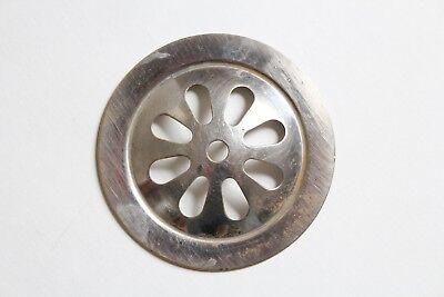 antique sink tub shower drain strainer | vtg victorian bathroom nickel art deco