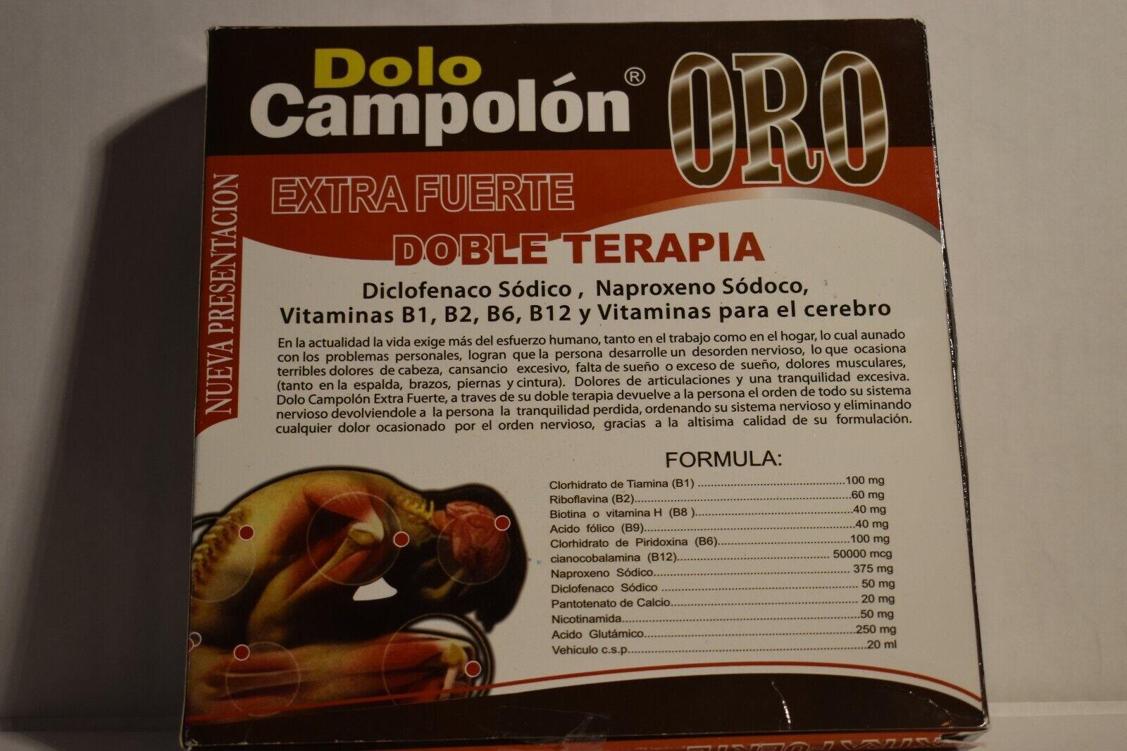 Dolo Campolon ORO (Elimina los dolores Musculares) 10 Ampolletas de 20ml Chica