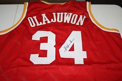 - HOUSTON ROCKETS HAKEEM OLAJUWON #34 SIGNED PRO STYLE CUSTOM JERSEY JSA WITNESS