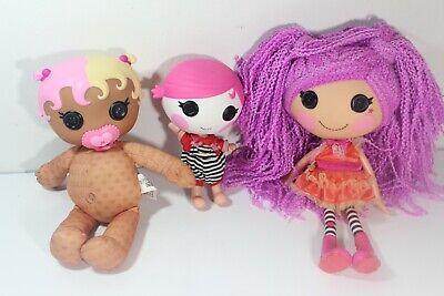 Lot of 3 LALALOOPSY DOLLS Yarn Hair 12