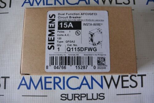 SIEMENS Q115DFWG TYPE QP 1P 15 AMP DUAL FUNCTION  - NEW