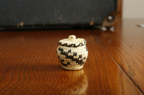 Vintage Papago Miniature Lidded Basket and Lid Native American Indian