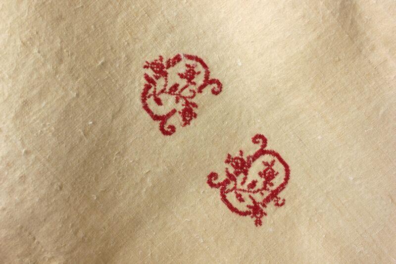 Vintage Linen Sheet French homespun CD monogram HEAVY natural warm tone