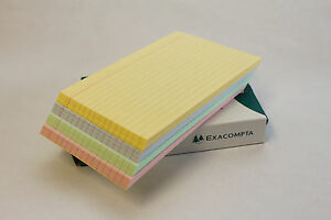ASSORTED COLOURED LINED REVISION RECORD INDEX CARDS 6