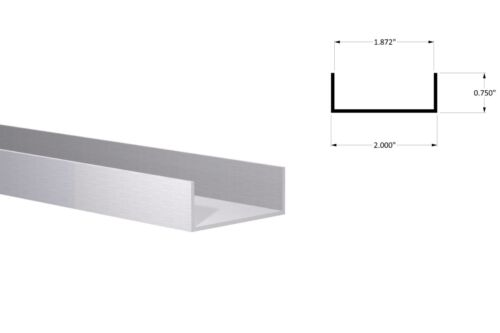 "Aluminum Channel: (2"" W x 3/4"" H x 1/16"") Fits 1-7/8"" Clear Anodized 3Ft Length"