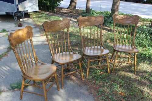 Antique Set of Four Matching Oak Pressback Chairs with Solid Oak Table