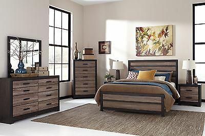 Ashley Furniture Queen Bedding - Ashley Furniture Harlington Queen 6 Piece Warm Gray Charcoal Bed Set B325