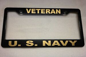 military license plate frame polished abs veteranus navy 842327g