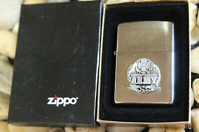 RARE MINT IN BOX VINTAGE 2002 USA ZIPPO BRUSHED STAINLESS RAISED ARMY LIGHTER