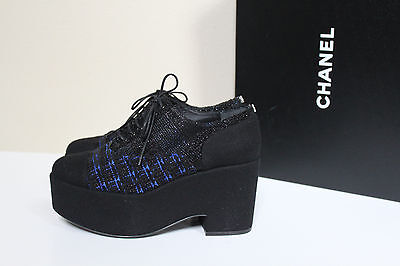 New sz 6.5 / 36.5 CHANEL Tweed Lace up Cap toe CC Logo Fashion Oxford Heel Shoes