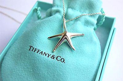 RARE Tiffany & Co Silver Elsa Peretti Large Starfish Pendant Necklace w/ Pouch