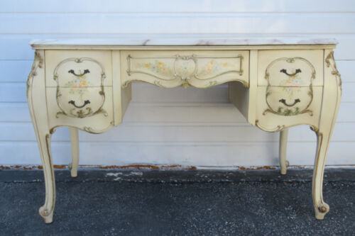 French Marble Top Hand Painted Bombe Large Writing Vanity Desk 9992