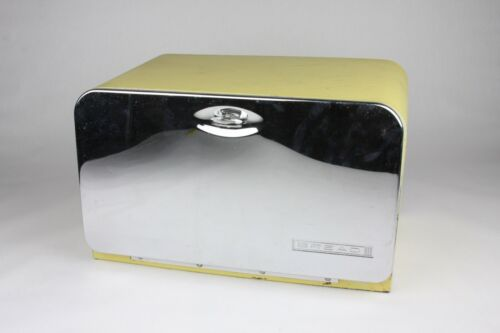Vintage Mid-Century Metal Yellow Beauty Bread Box by Lincoln Pie Shelf Kitchen