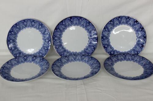 Preowned 6 Bombay Salad Plates, Blue & White Tile Pattern, Platinum Trim