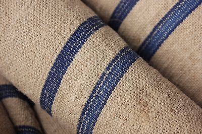 Grainsack fabric grain sack material hemp  BLUE organic stripe upholstery PER YD