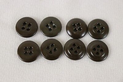 WWII dark brown trouser and shirt rimless buttons 11/16in 17.5mm  lot of 8 B7825