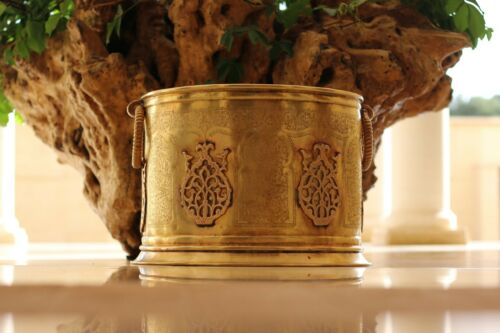 antique luxury huge planter bowl container brass Islamic  Moroccan
