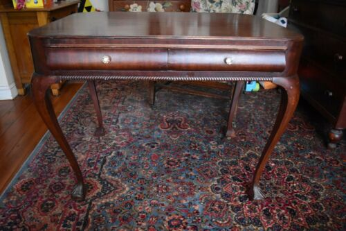 Solid Mahogany Ball and Claw foot Desk Queen Anne Legs