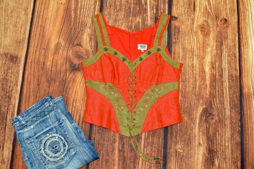 Dirndl blouse Bavarian Red linen blouse Trachten blouse Oktoberfest Size 40