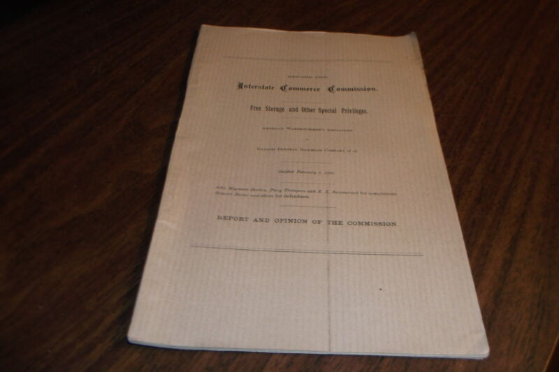 1898 INTERSTATE COMMERCE COMMISSION FREE STORAGE AND OTHER PRIVILEGES DECISION