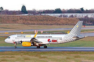 "Vueling Airbus A320-2 EC-MEQ ""Pepsi Max"" Departing 033 BHX 27-12-2017 Postcard"