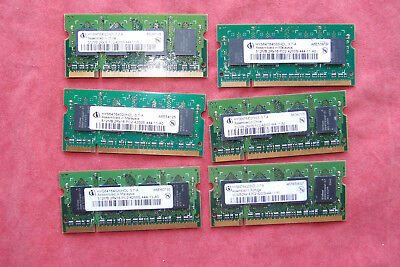 Lot of 6 Infineon 512MB PC2-4200S DDR2 RAM SODIMM laptop memory; 2Rx16 512mb Pc2 4200 Sodimm Memory