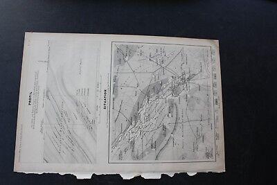 1873 Stich Bergbau / Landkarte Egeln Hakeborn Bisdorf Förderstedt Stassfurt